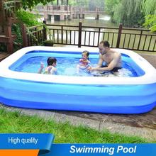 110/128/155CM Rectangular Inflatable Swimming Pool Thicken PVC Paddling Pool Bathing Tub Outdoor Summer Swimming Pool For Kids