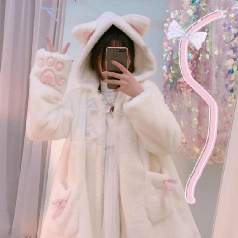 Japanese Lolita Kitty Paw Coat  1