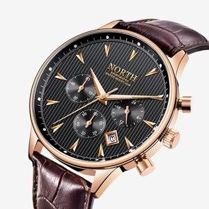 Image 1 - Hommes montre daffaires de luxe mode calendrier Sport décontracté mâle Quartz montre bracelet en cuir véritable multifonction hommes cadeau montres
