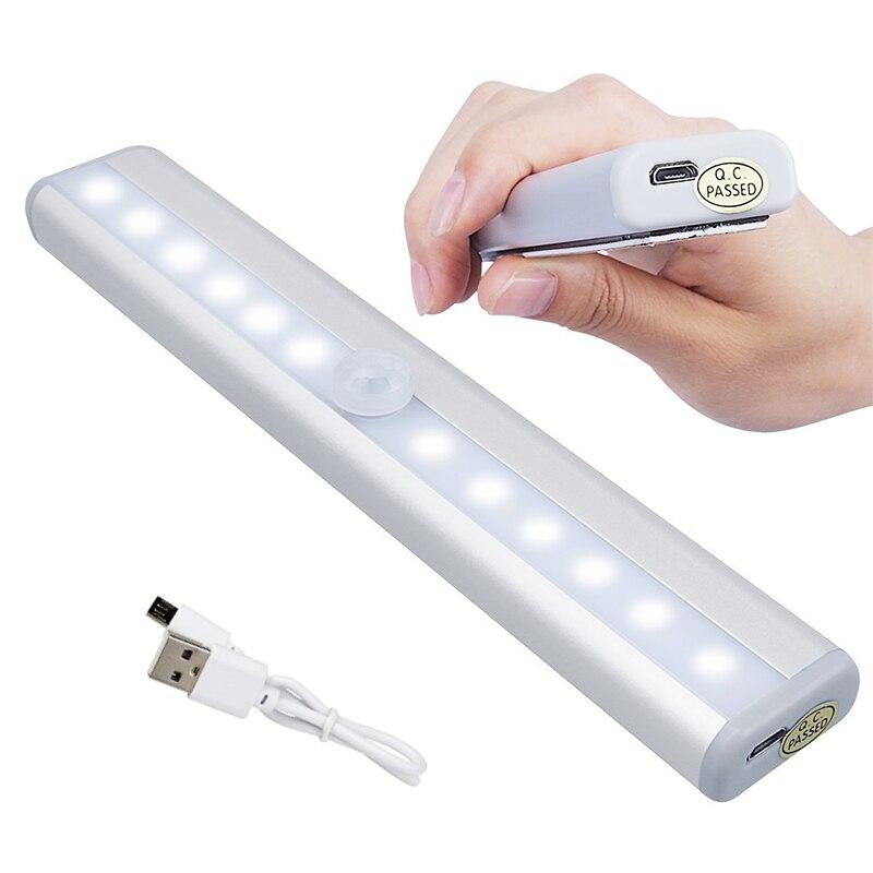 10 LEDs USB recargable inalámbrico bajo el gabinete luces de armario con Sensor de movimiento barra magnética Luz de seguridad portátil SHGO-Invisible oculta RFID libre apertura inteligente Sensor armario cerradura armario guardarropa cajón del Gabinete Zapatero cerradura de puerta