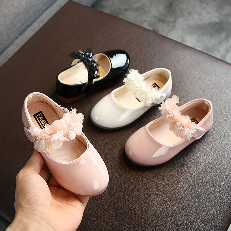 Fashion Toddler Infant Kids Girls Shoes Lace Crystal Flat Leather Princess Party Shoes Leather Shoes Dance Shoes Baby Outfits