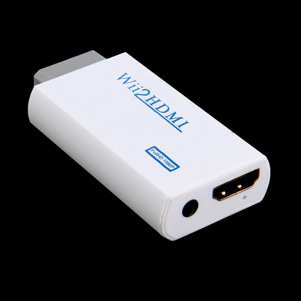 White Plastic Wii to HDMI Wii2HDMI Adapter Converter Full HD 1080P Output Upscaling 3.5mm Audio Video Output