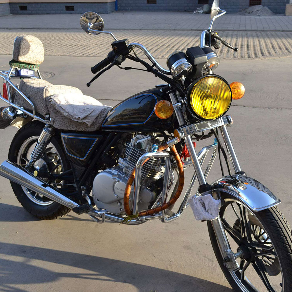 Купить с кэшбэком Universal Motorcycle Headlight Round 5 Inch 35W 12V with Holder Halogen Bulbs for Suzuki Retro Metal wholesale