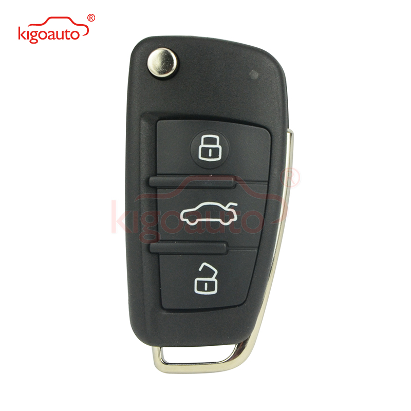Kigoauto 8P0837220D car key cover 3 button for Audi A4 Flip remote car key shell 2004 2005 2006 2007 2008 8P0 837 220 D image