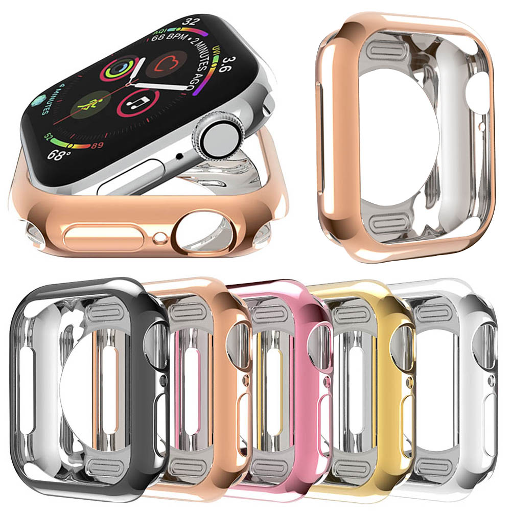 New anti-fall Tpu plating soft silicone sleeve for <font><b>Apple</b></font> <font><b>Watch</b></font> 40mm 44mm iWatch series 1 2 <font><b>3</b></font> 4 housing protection 42mm 38mm image