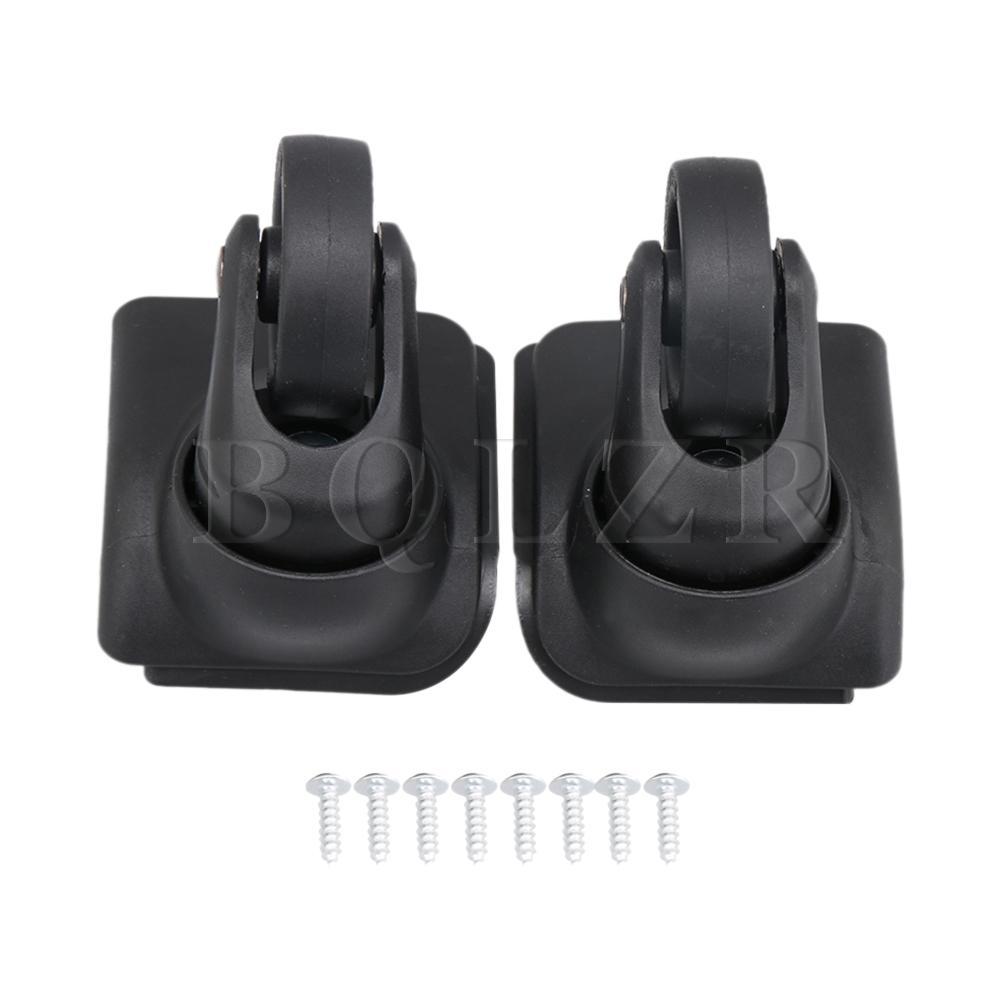 BQLZR 1 Pair Black DIY Plastic Swivel Luggage Suitcase Wheel W044 OD 50mm