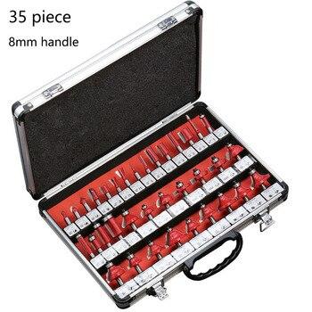 35PCS 8mm Schaft Hartmetall Router Bit Set Holz Holzbearbeitung Cutter Trimmen Messer Forming Fräsen Carving Schneiden Werkzeuge