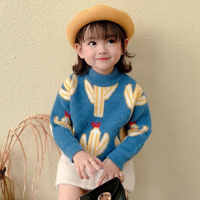 Одежда для маленьких девочек, зимние свитера, водолазка, милый свитер для детей от 3 до 12 лет, детская одежда с кактусами