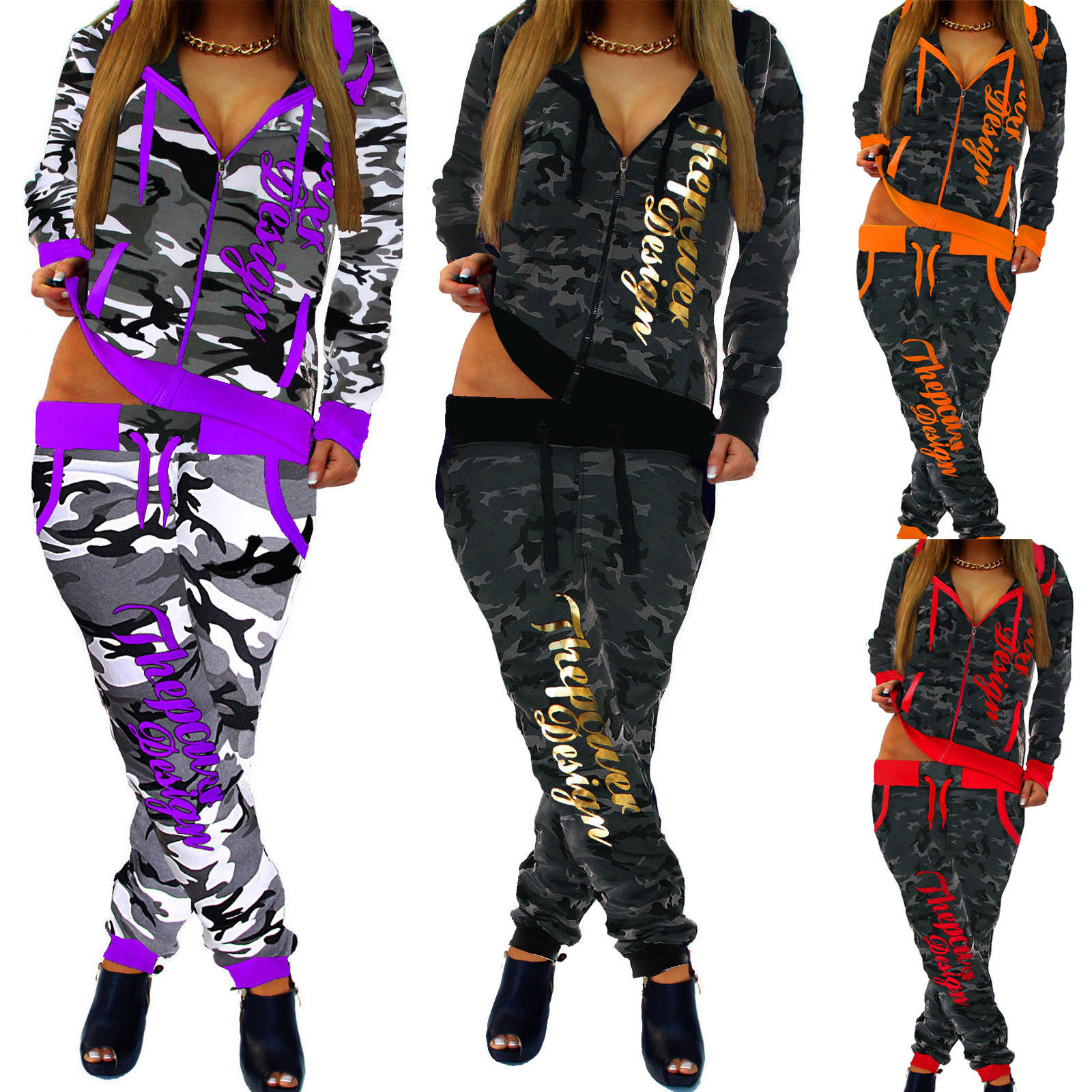ZOGAA 2019 New 2 Piece Sets Women's Fashion Clothing Women Casual Camouflage Outwear Style Sweatsuits For Women Tracksuit S-3XL