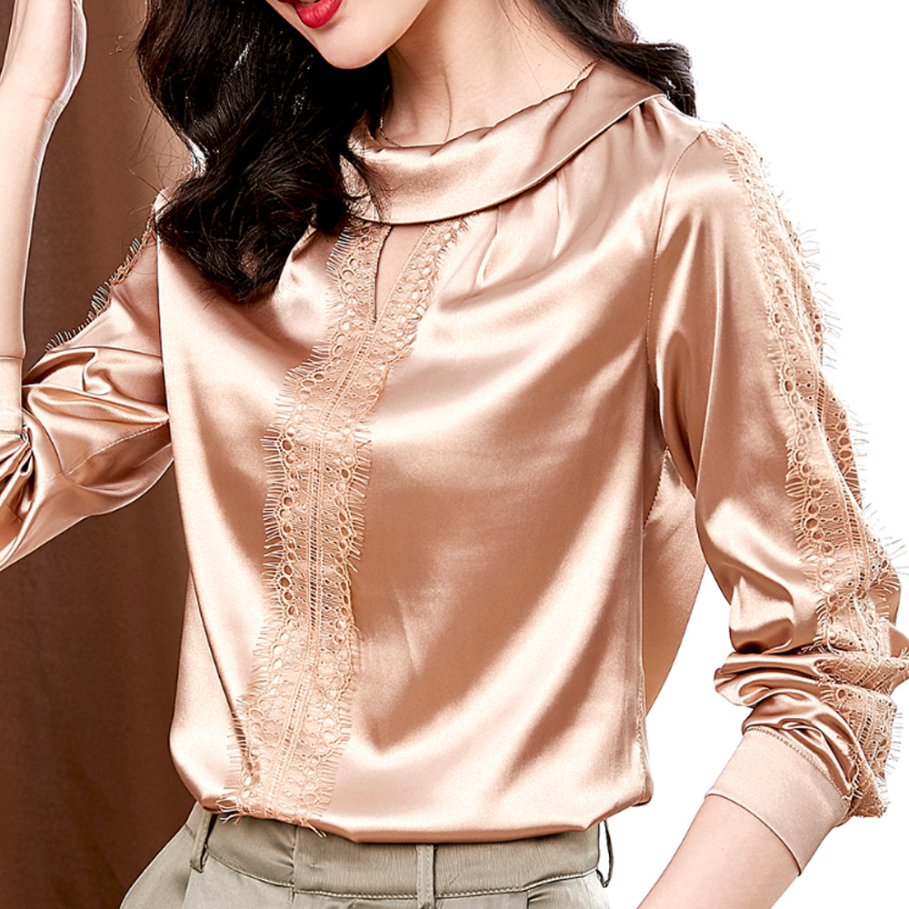 2020 New Fashion Women Silk Blouse Shirts Sexy Lace Stitching Long Sleeve Blouses and Tops  Solid Office Shirt Casual Tops