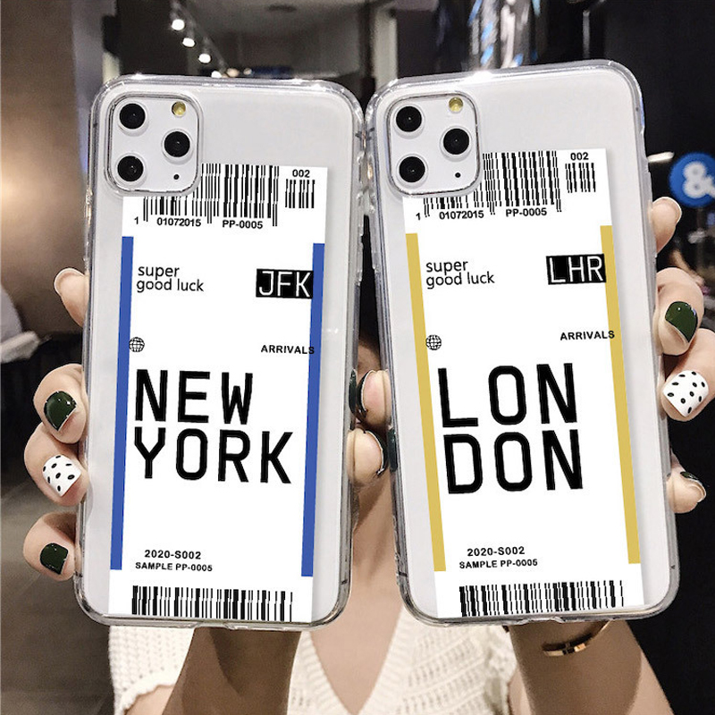 USA City Air Ticket London Paris Tokyo Label World Clear Case for iPhone 11 Pro XR XS Max 7 8 Plus QR Code Case <font><b>LasVegas</b></font> Houston image