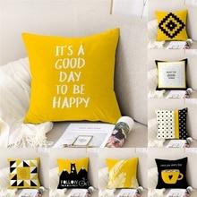 цена на Geometric Cushion Cover Yellow Polyester Throw Pillow Case Striped Dotted Grid Triangular Geometric Art Decoration Pillowcase