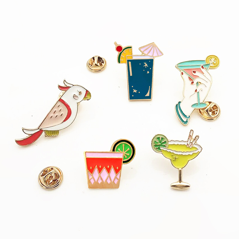 Брошь с эмалью для коктейлей, брошь в форме сока, напитка, попугая, птицы, брошь на воротник, значок на рюкзак, праздничная бижутерия, лето