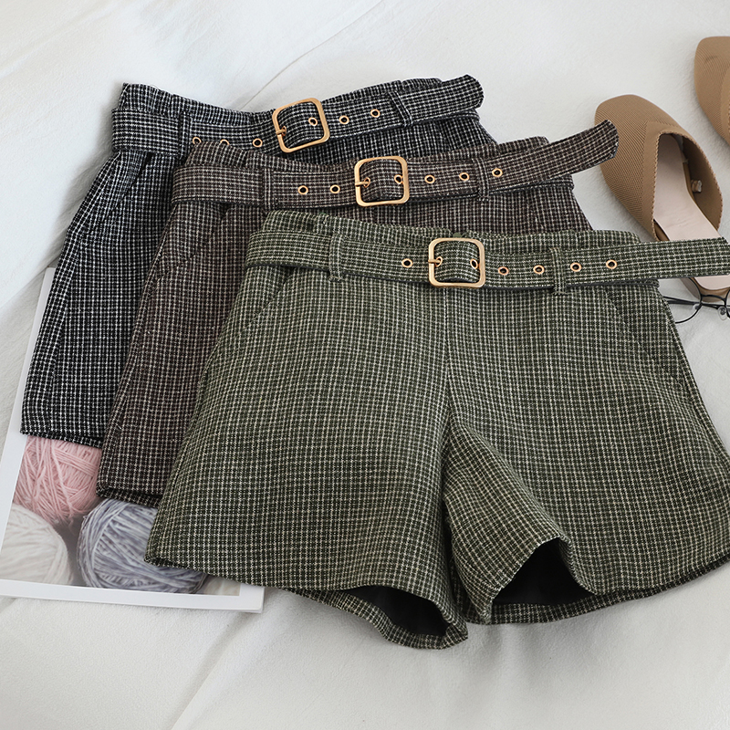 Korean Sweet Women Plaid Sashes Shorts Casual Female Zipper Fly High Waist Shorts Vintage Mujer Empire Sexy Mini Loose Shorts
