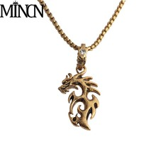 INCN Flame Dragon Necklace Mens Stainless Steel Retro Creative Domineering Hip Hop Pendant