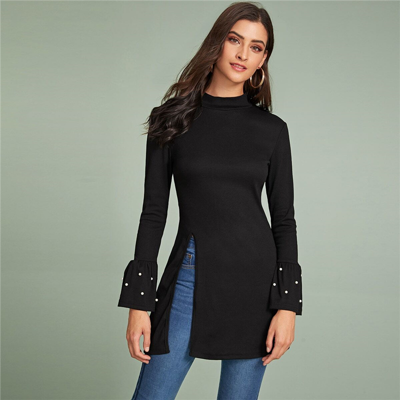 SHEIN Black Beaded Flounce Sleeve Side Slit Tee Women Spring Autumn Long Sleeve Stand Collar Solid Long Elegant T-shirts