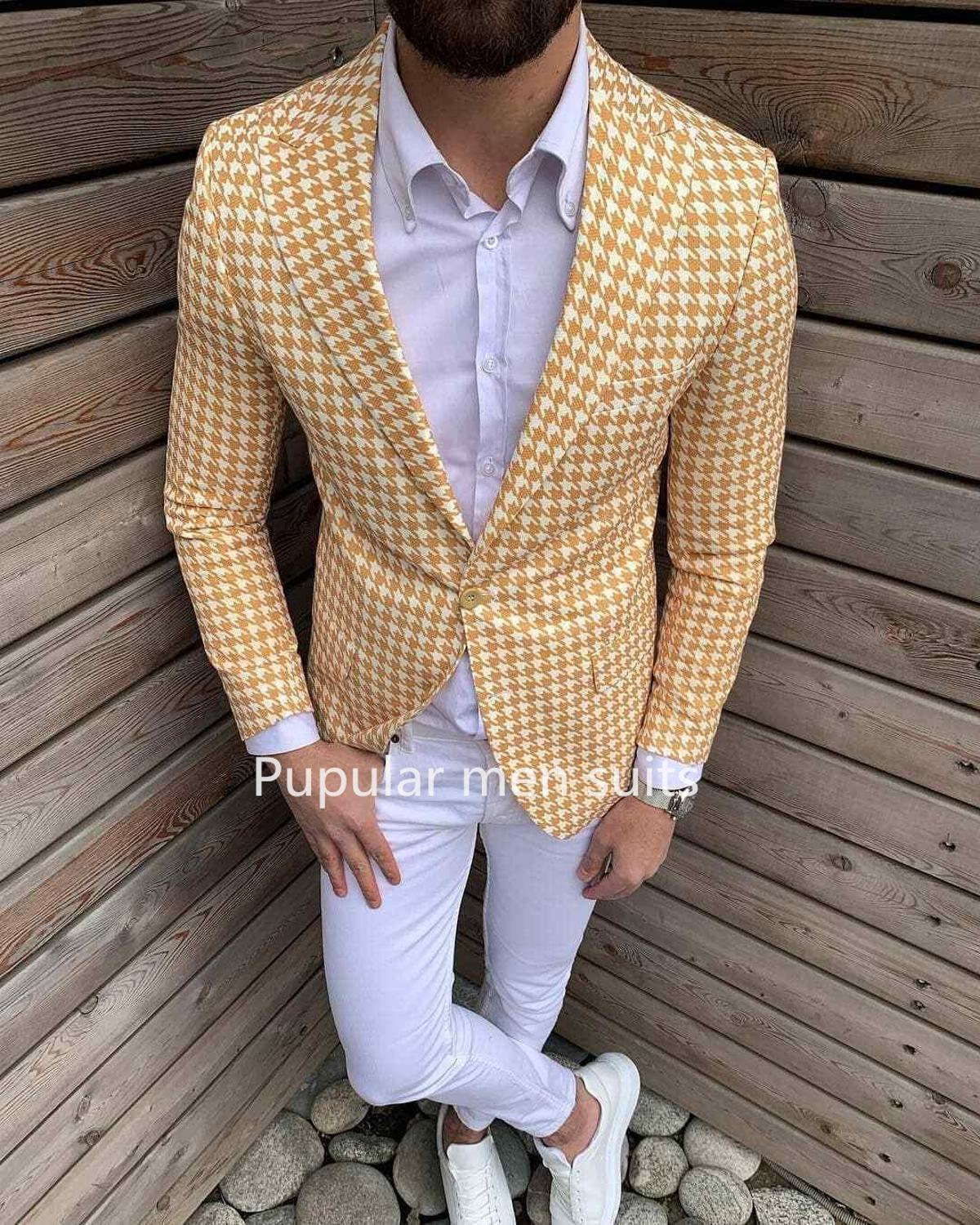 Slim Fit Men Suit 2019 Men Yellow/Pink Houndstooth  Suit 2 PCS Checkered Dinner Tuxedos Party Suit Custom Trajes De Hombre
