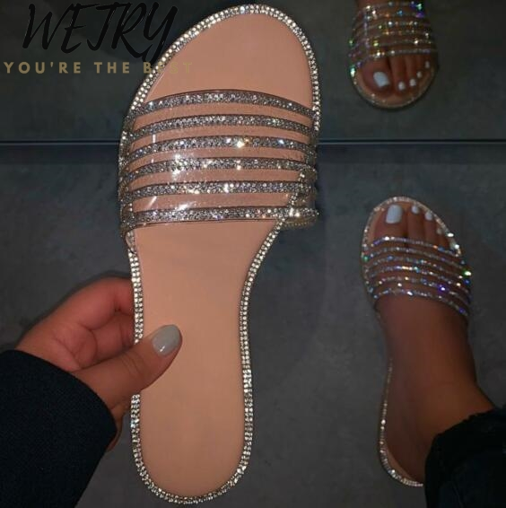 Spring/summer New Women 2020 Rhinestone Flat Casual Slippers Outdoor Wild Sandals Home Durable PVC Beach Flip Flop Lady Ms