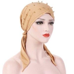 Image 1 - Helisopus Pañuelo para la cabeza para mujer, turbante musulmán elástico con cuentas, para la cabeza, para la caída del cabello