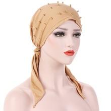 Helisopus Vrouwen Mode Pure Kleur Hoofddeksels Kralen Stretch Moslim Tulband Hoofddoek Vrouwen Hoofd Wrap Haaruitval Sjaal Cover