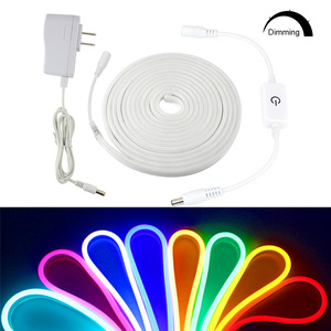 1M 2M 3M 4M 5M Cutable DIY Led Neon Light Strip 12V 2835 Waterproof 120LEDs/m Led Ribbon Tape Light EU/US Adapter Touch Dimmer