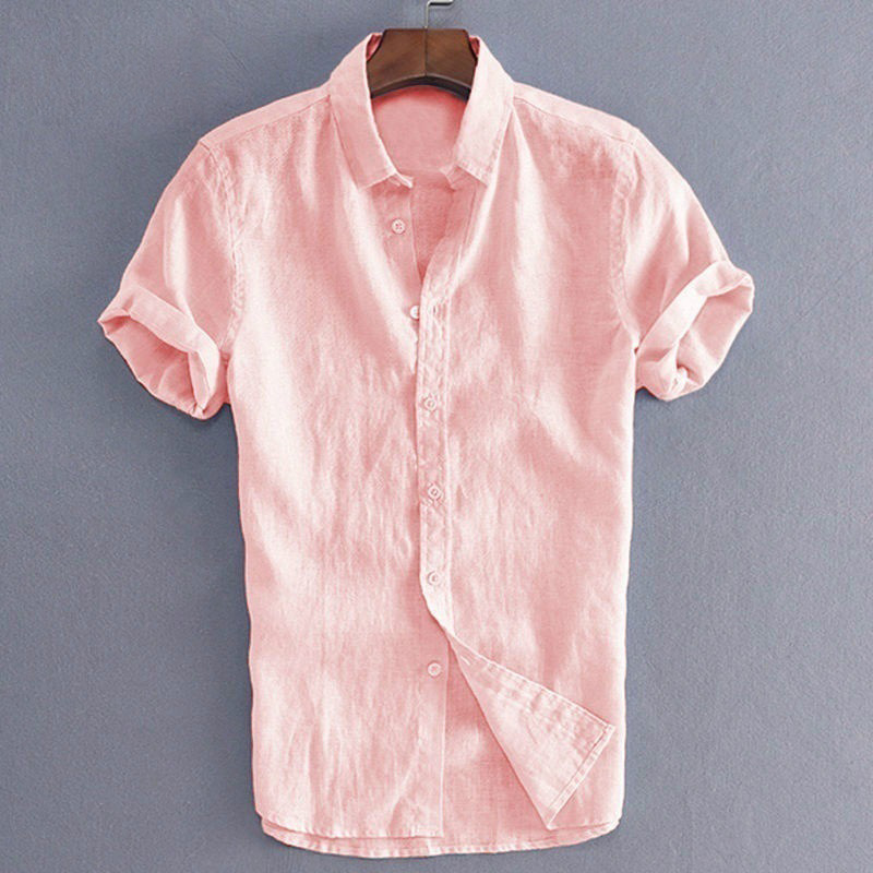 Mens Short Sleeve Dress Shirts Button Down Slim Fit Casual Solid Colors NEW