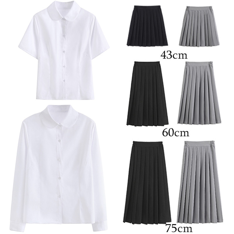 Women JK High School Uniform Student Girl Harajuku Preppy Style White Shirt Top Blouse Blusas Pleated High Waist  A-line Skirt