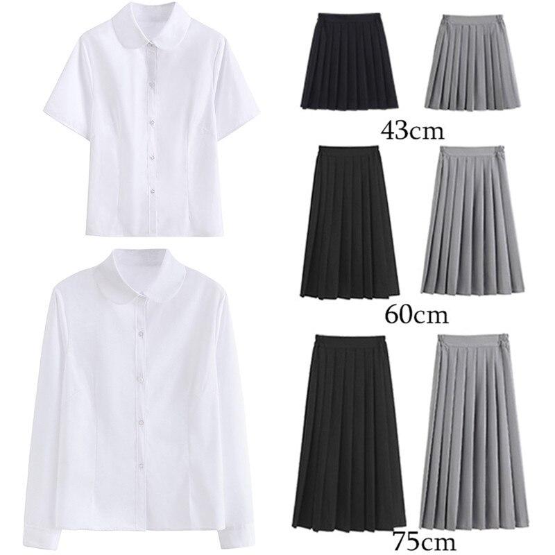Women JK High School Uniform Student Girl Harajuku Preppy Style White Shirt Top Blouse Blusas Pleated High Waist  A-line Skirt