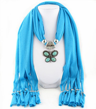 4 natural turquoise fringed jewelry scarf alloy Turquoise Butterfly Pendant lady shawl neck pendant