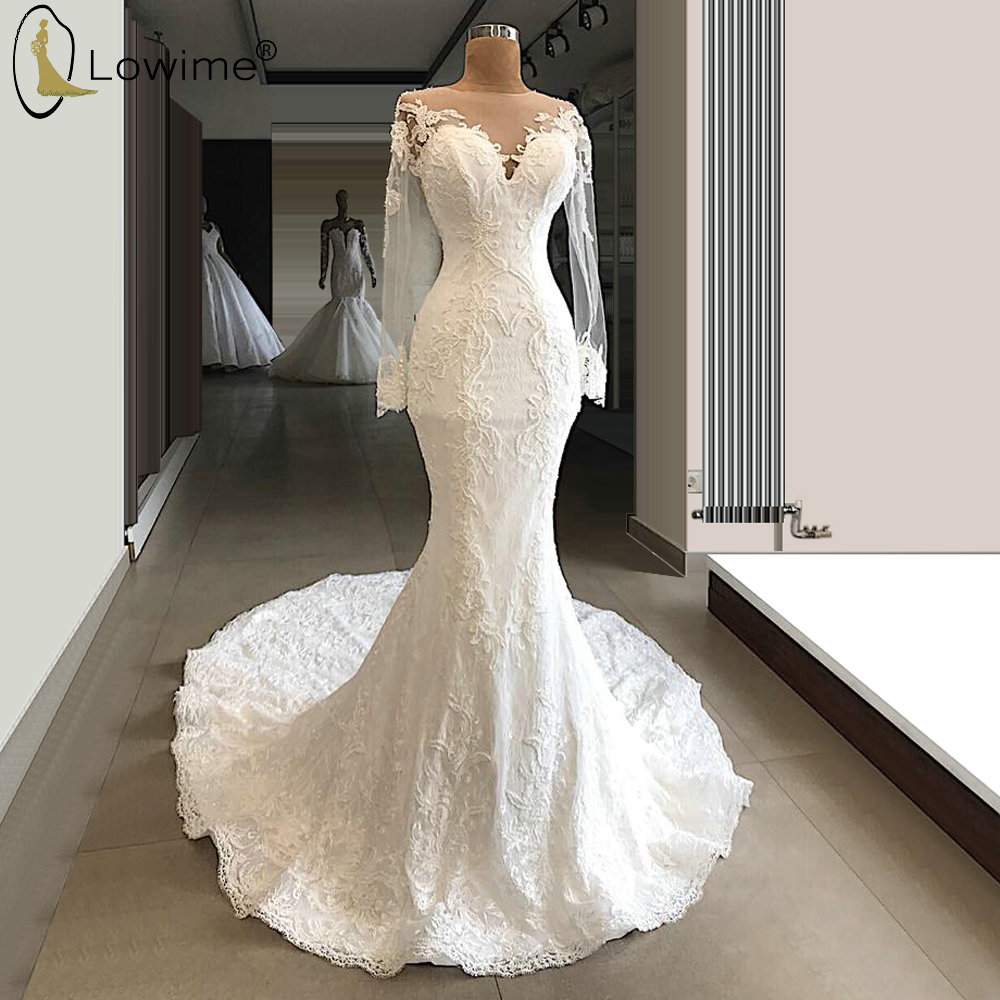 Robe De Mariee Elegant Mermaid Wedding Dresses with Illusion Long Sleeve Lace Applique Court Train Bridal Gowns