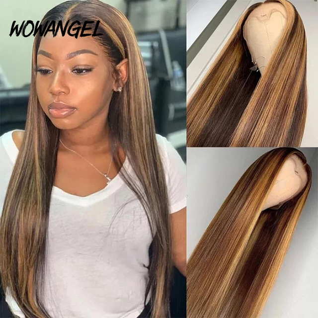 $ US $56.10 WOWANGEL Ombre Highlight Human Hair Wig Brown Honey Blonde Colored 13x6 Lace Front Human Hair WigsRemy Straight 180% Deep Part