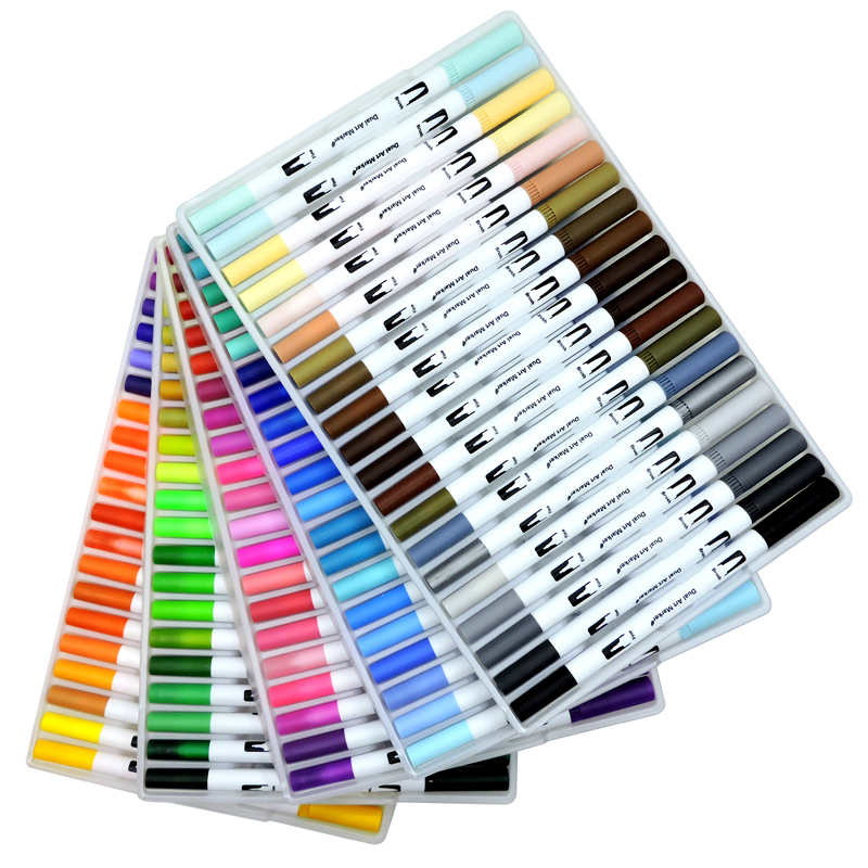 Image 4 - 60/72/100/120PCS Dual Tip Brush Marker Pen Fine Liner Watercolor Art Markers For Coloring Drawing Painting sketching markersArt Markers   -