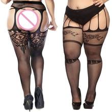 Dropshipping 5 Styles Fashion Women Suspender Pantyhose Tights Plus Size Stockings