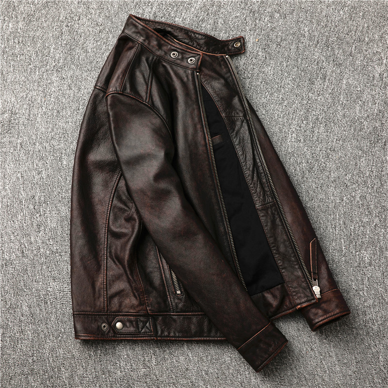 H38967b47ab8a46a7aa25c4e2a59723990 Classic motor style,vintage genuine leather Jacket,fashion men brown Leather coat,street biker coat,sales
