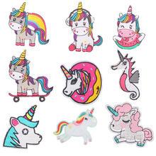 Cartoon Unicorn Patches Flower Stickers Diy Iron on Clothes Heat Transfer Applique Embroidered Patch Applications Cloth Fabric(China)