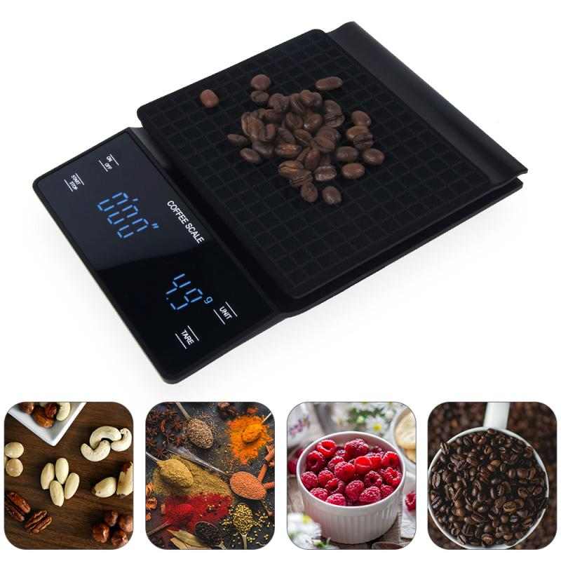 Coffee Scale Multifunctional Bar Scale G Scale Electronic Timer 3KG Scale LED Display Kitchen Food Scale Kitchen Accessories
