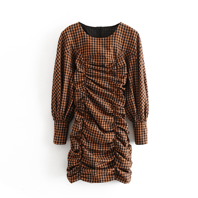 Tangada Women Elegant Plaid Print Pleated Mini Dress O Neck Puff Long Sleeve Lady Short Dress Vestidos 3h374