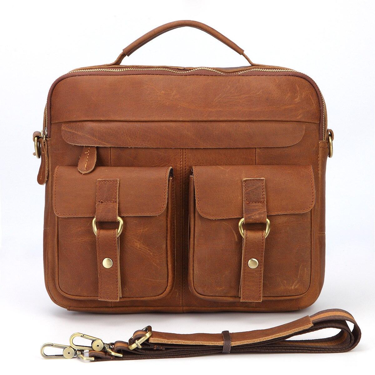 Crazy Horse Cow Genuine Leather Men Briefcase Bag Business Handbag Male Laptop Shoulder Bag Tote Computer Natural Skin Briefcase