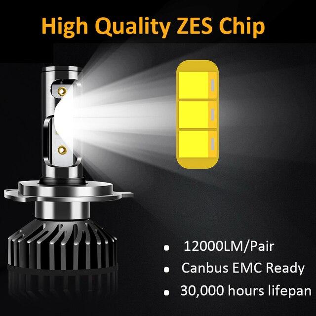 Uttril Canbus H4 LED H7 LED H1 H3 H8 H9 H11 9005 HB3 9006 HB4 880 881 H27 LED Car Headlight 100W 12000LM ZES 6000K No Error 12V 1