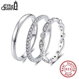 Effie Queen Genuine 925 Sterling Silver Ring for Men Women Couple Rings Wedding Band Female Finger Ring Wholesale Jewelry BR74(China)