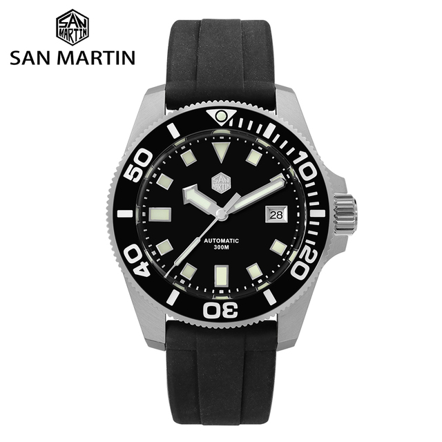 סן מרטין Diver NH35 ספיר קריסטל גברים אוטומטי מכאני שעונים 120 קליקים קרמיקה לוח 30Bar BGW9 זוהר תאריך חלון