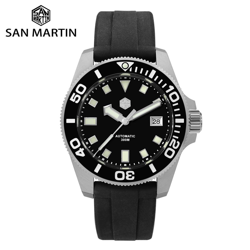 San Martin Diver NH35 Sapphire Crystal Men Automatic Mechanical Watches 120 Clicks Ceramic Bezel 30Bar BGW9 Luminous Date Window