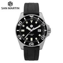 San martin diver nh35 safira relógios mecânicos automáticos dos homens de cristal 120 cliques moldura cerâmica 30bar bgw9 luminosa janela data