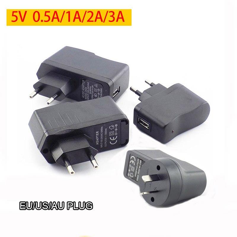 USB зарядное устройство для power Bank Phone 5V 0.5A 1A 2A 3A usb зарядка AC к DC адаптер питания настенное зарядное устройство для путешествий EU/US/AU Plug