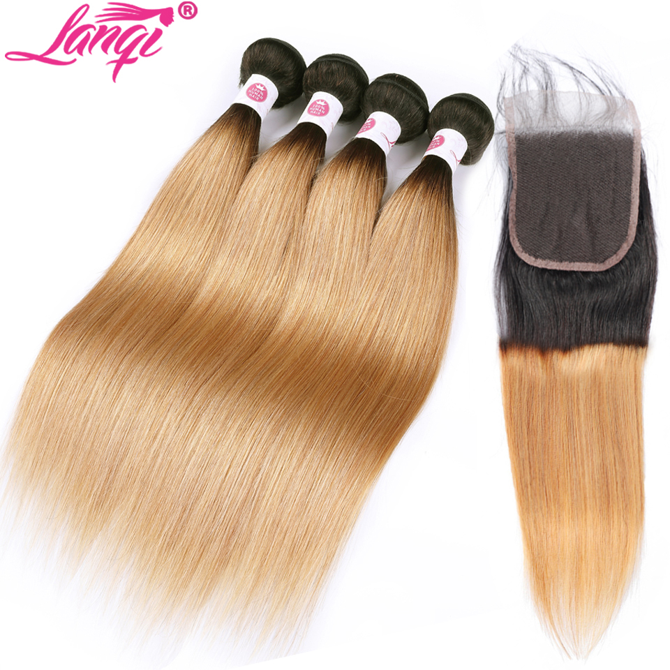 Lanqi Brazilian Straight Hair Weave 2 4 Bundles With Closure Non Remy 1b/27 Honey Blonde Human Hair Ombre Bundles With Closure