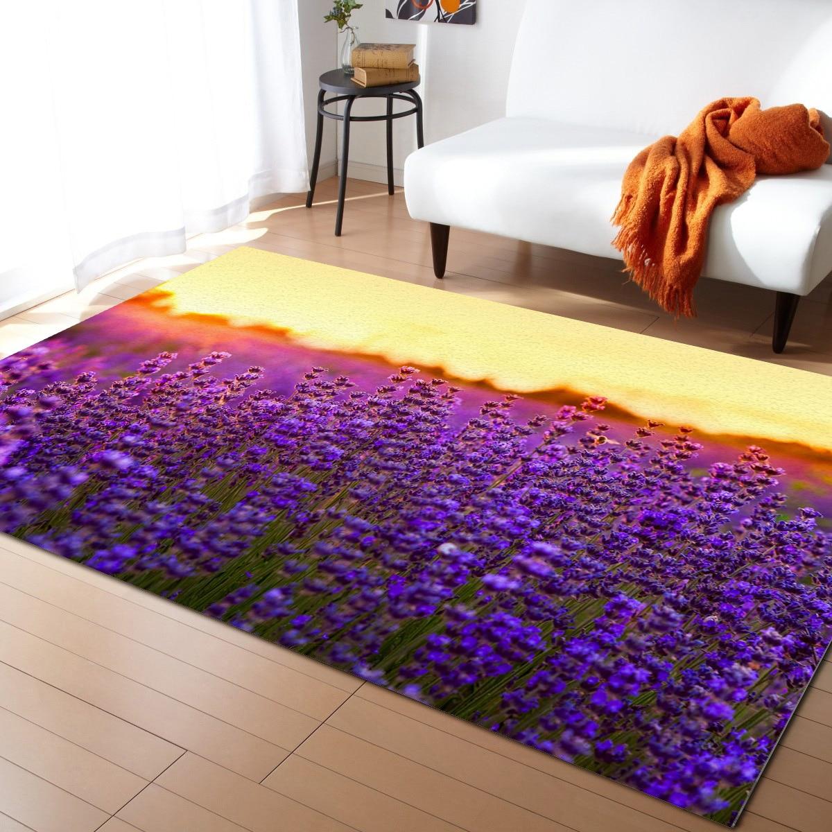 Фиолетовые Лавандовые цветы, цветочные полевые коврики с закатом на кровать, коврики и коврики для дома, гостиной, домашний прикроватный ко...