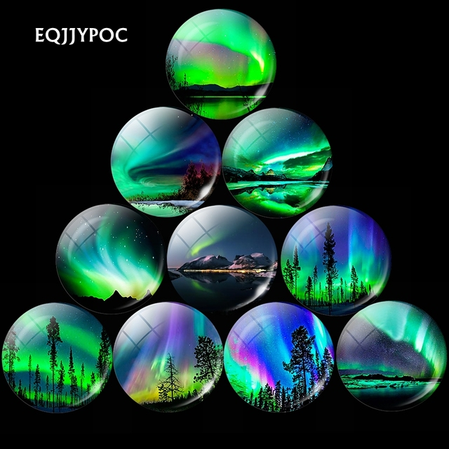 Lucky Northern Lights Refrigerator Magnets 30mm Glass Cabochon Luminous Aurora Polaris Magnetic Sticker Home Decor 1