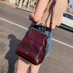 Image 2 - 2020 Vintage Retro Hasp women BackPack PU Leather school bag Backpack for Teenagers Girls Travel fashion female Shoulder Bags