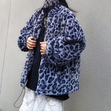 Outfit Coats Leopard Jacket Grunge Women Long-Sleeved Loose for And Furry High-Street