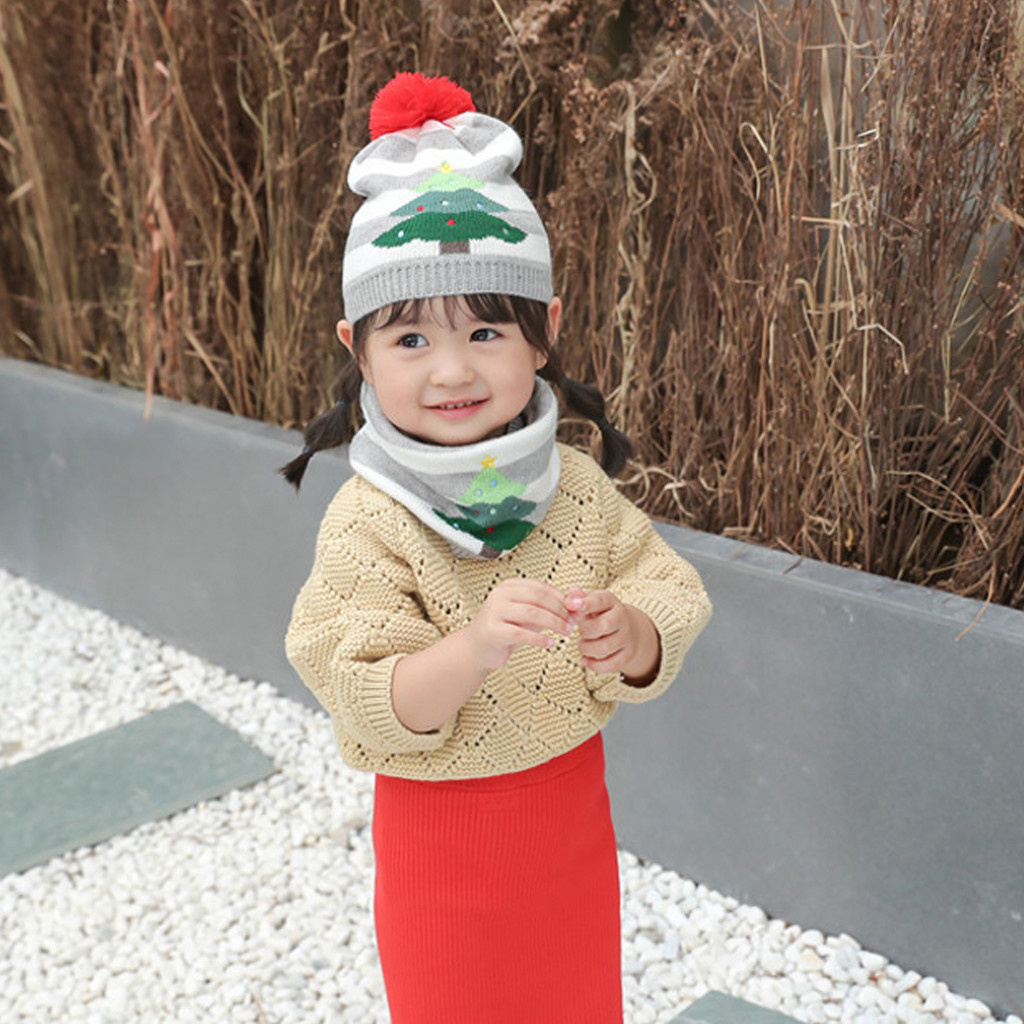 2019 New Children Hat Knitted Hat Festive Christmas  Stripe Infant Hat Winter Hats Kids Boys Girls Cute Photography Props Beanie